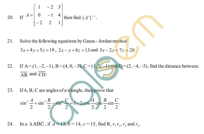 AP Board Intermediate I YearMathematics IAModel Question Paper