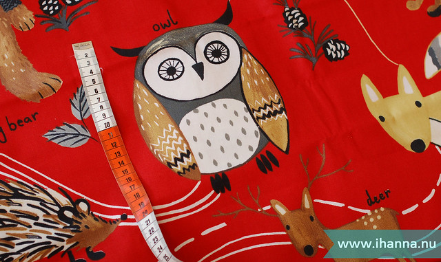 Owl in the Nature Trail Curtain Fabric Red