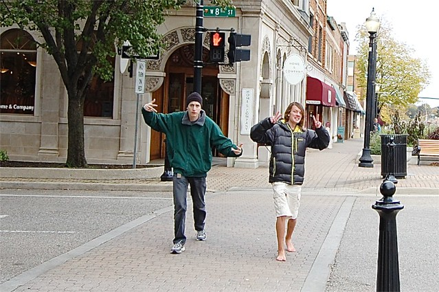 Walking in downtown Holland, Michigan