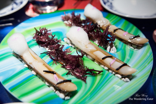 Course 14: Razor clams with refried sauce and lemon air