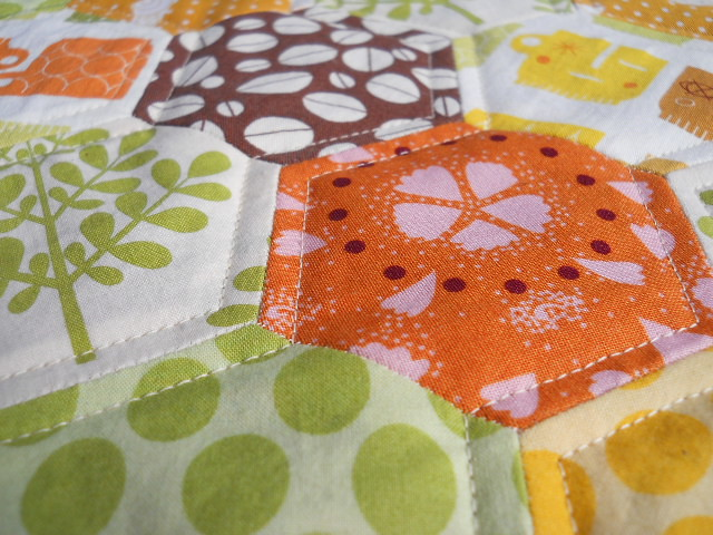 quilting on epp hexies