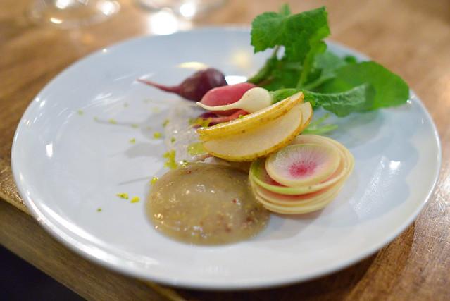 radish crudite, nori creme fraiche, pear mustard, yuzu (rustic canyon)