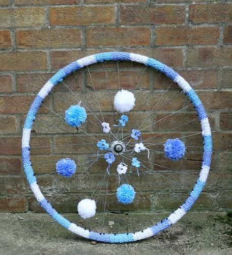 Yarn Bombed Bike Wheel