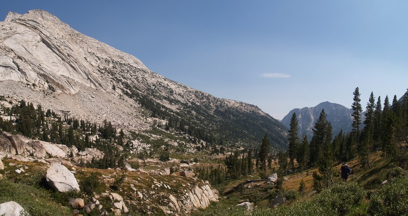 Looking south in Matterhorn Canyon, with Whorl Mountain on the left and Quarry Peak in the distance