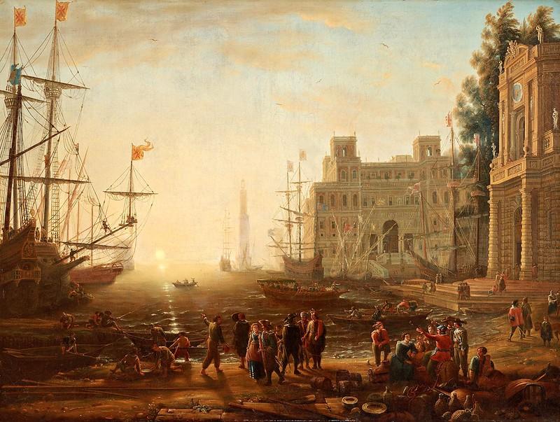 Claude Lorrain - Efter carpriccio med en italiensk hamn i skymning med villa medici och handelsman