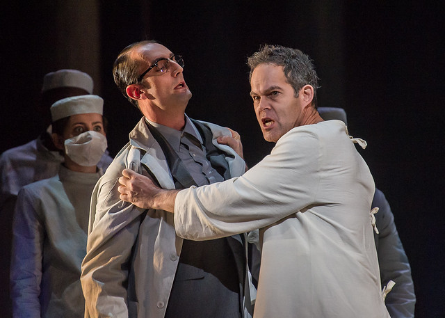 Charbel Mattar as Second Knight and Gerald Finley as Amfortas in Parsifal © ROH / Clive Barda 2013
