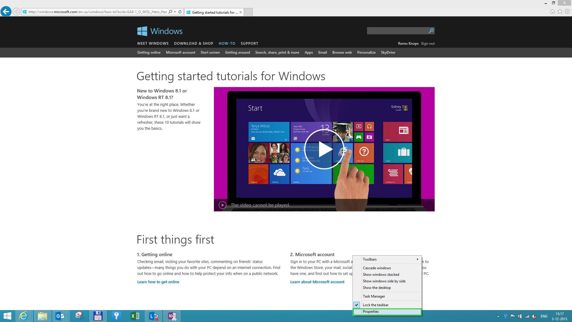 Windows 8.1 Taksbar Properties