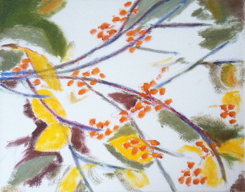 Branch with Golden Berries (Oil Bar Painting as of Dec. 3, 2013) by randubnick