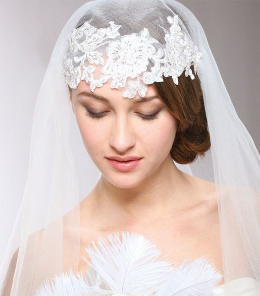 wedding hairstyles with veil and headpiece