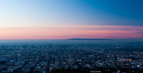 california city pink sky sunrise landscape dawn lights losangeles pastel cities aerialview bluehour