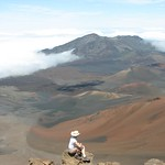 Crazy woman on edge of crater, Maui