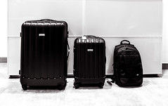 bag(1.0), hand luggage(1.0), baggage(1.0), suitcase(1.0), black-and-white(1.0), black(1.0),