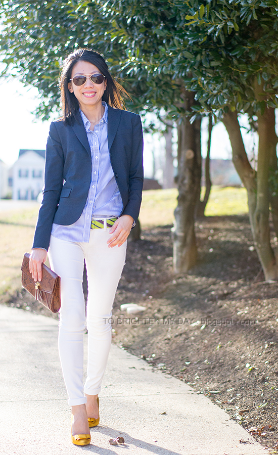 navy blazer, blue striped shirt, green striped belt, white jeans, yellow bow pumps