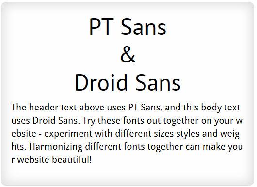 PT Sans and Droid Sans