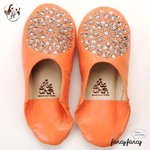 83.亮銀刺繡Blingbling皮拖鞋(摩洛哥製)-亮棕色