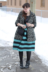 """Sparkle and stripes outfit: Anthropologie """"Starlit Stripes Dress"""", leopard brocade coat, black pirate booties, Asos """"ASOS Quilt Cross Body Bag With Rabbit Ears"""""""