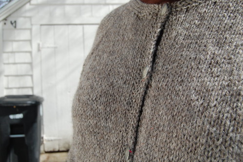 Closeup of Diane Soucy top-down cardigan