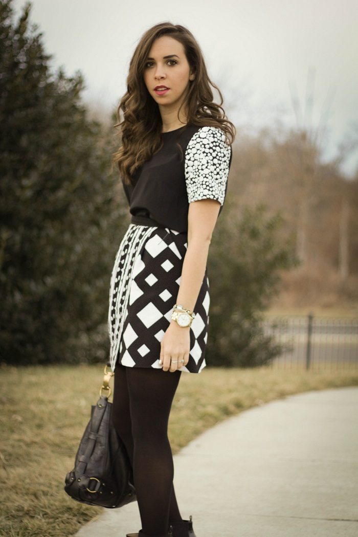 va darling. dc blogger. sequined sleeve top. peter pilotto x target skirt. dvf bootie 3