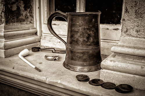stilllife heritage history window monochrome wall closeup sepia garden mono coins sony pipe explore pocketwatch windowledge englishheritage tankard oldcoins 5000views brodsworthhall oldpipe inexplore nex6 april2014 sonynex6 easter2014 flickrexplore18052014