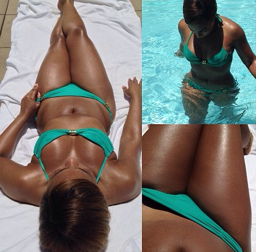 US singer Ashanti shares poolside pictures of her impressive bikini body
