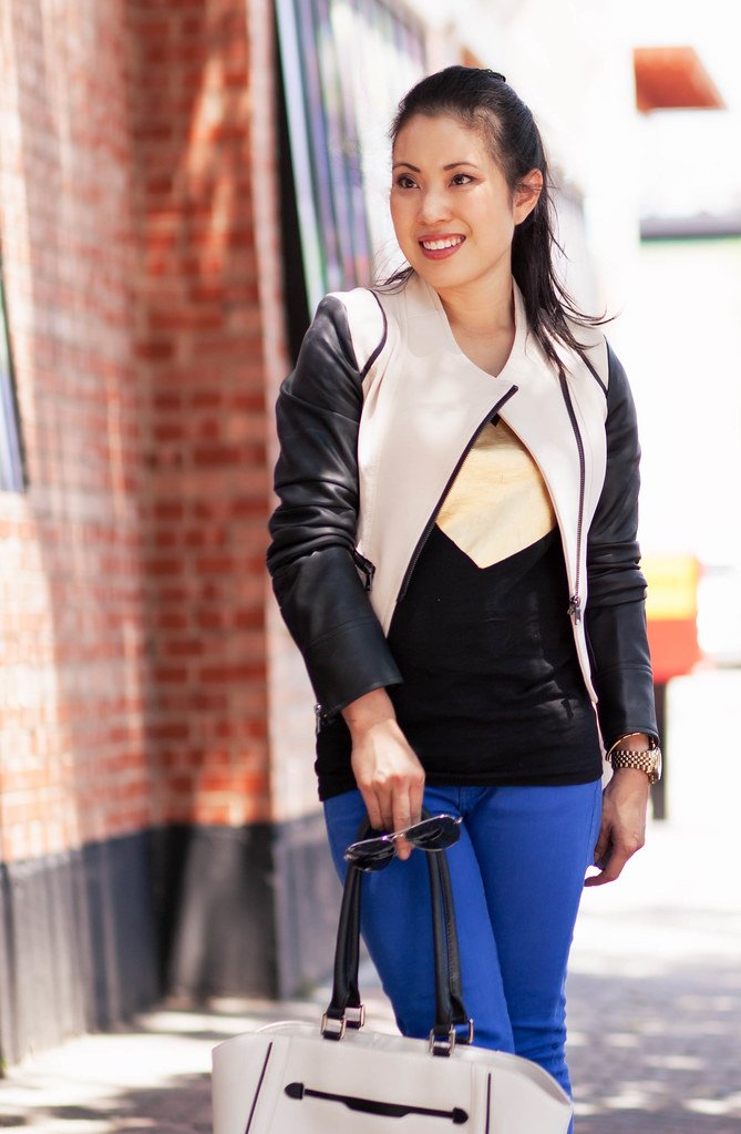 cute & little blog | sheinside khaki leather sleeves moto jacket, heart tee, cobalt pants, leopard pumps