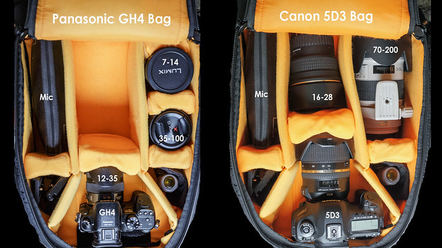 GH4 vs Canon 5D3 camera bag comparison