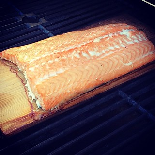 #kvpkitchen Smelling cedar plank smoke in our backyard. Grilling salmon for dinner. #foodspotting #fish #salmon #kvpinmybelly