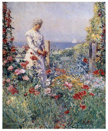 003 Celia Thaxter en su jardín- 1892- Pintura al oleo- Childen Hassam