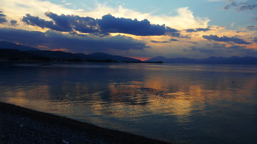 sunset sea sky mountain reflection clouds lumix outdoor hellas panasonic greece peloponnese peloponnisos peloponisos aigio achaia panasonicdmctz40