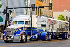 "The Davis Bros. Peterbilt 386 ""Buzz Kill"" participates in the Shell Rotella SuperRigs parade in downtown Joplin Missouri"
