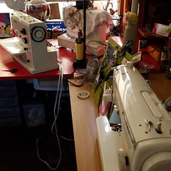 Waiting in line for a much-needed and well-deserved #cleaning and #oiling.  #juki #ilovemyjuki #bernina #ilovemybernina #babylock #embellisher #babylockembellisher #ilovemyembellisher #laboroflove