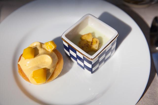 Mango cream tart and Okinawa bitter melon panna cotta topped with grilled Okinawa pineapple