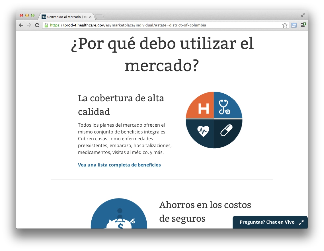 HealthCare.gov in Spanish