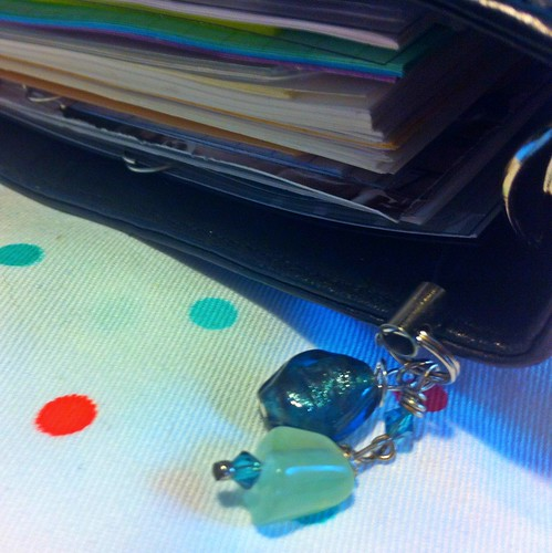Dark teal foil and sea foam filofax charm