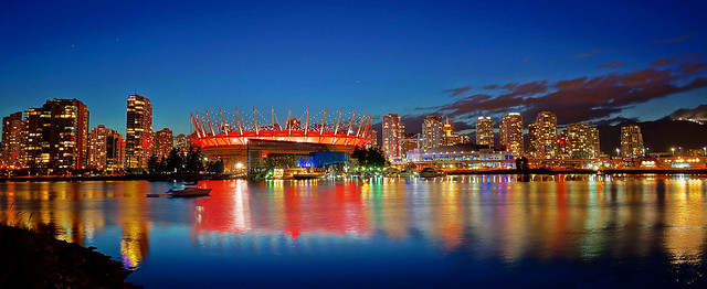 Vancouver BC Place in Red at Night
