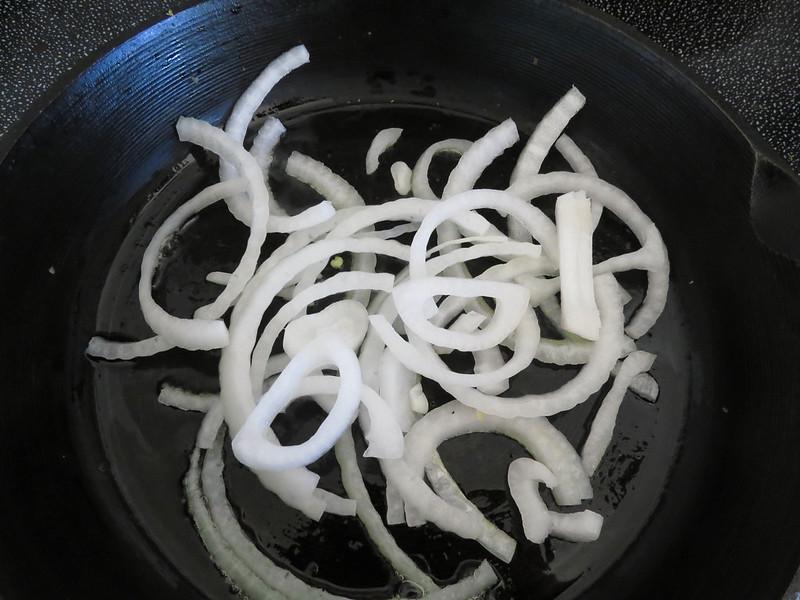 Onions sauteeing
