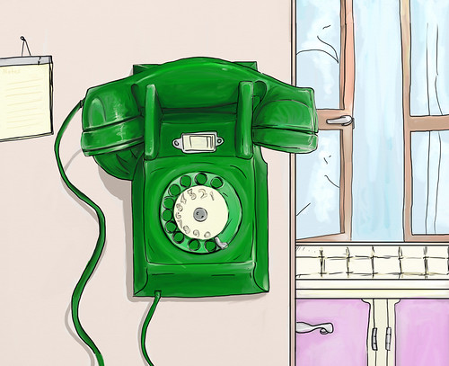 Green wall phone