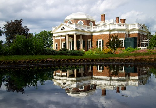 reflection history architecture virginia day cloudy colonial jefferson monticello