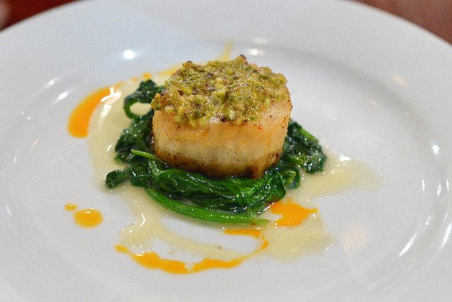 Pistachio Crusted Scallop karashi, pistachio, honey, sauteed spinach