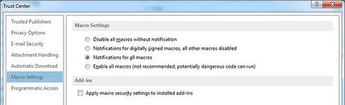 เลือกที่ Macro Settings แล้วเลือกตัวเลือก Notifications for all macros