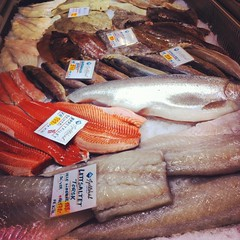 Fresh fish at the Fish Market in Bergen, Norway