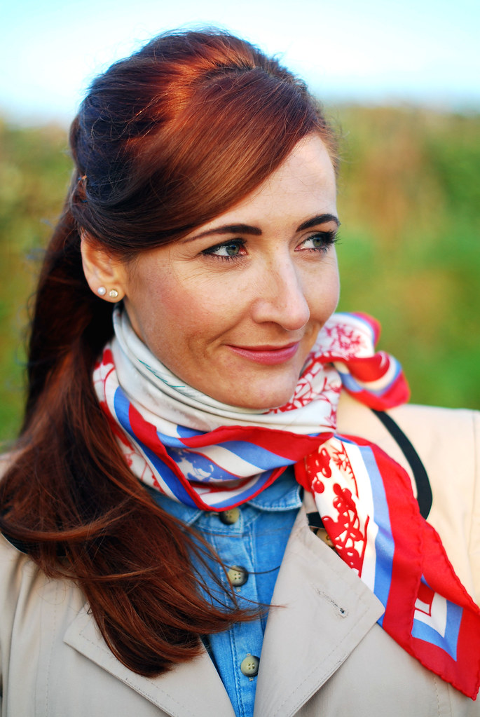 Trench coat, denim shirt & vintage scarf