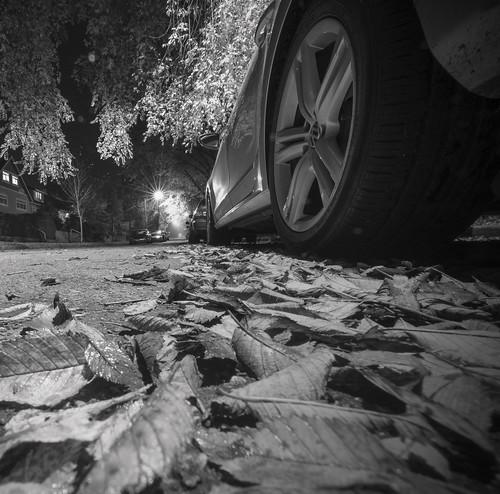 road street autumn blackandwhite bw white black art fall monochrome leaves car vw mono nikon nightlights dof angle juan streetlights pov nightshots groundlevel nikkor avenue volkswagon lowangle slicesoftime rostworowski mygearandme juanrostworowski