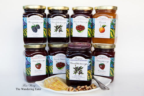 Oregon Growers & Shippers: Huckleberry, Marionberry, Strawberry Pinot Noir, Peach, and Black Cherry Jams