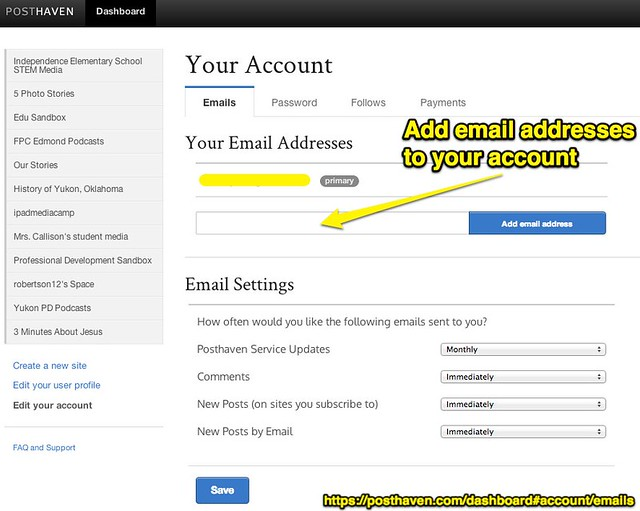 Add email addresses to your account