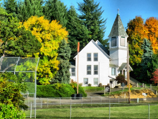 Bellfountain Church, Bellfountain, Benton County, Oregon USA ~ Painterly