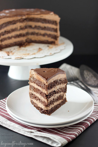 Hot Chocolate Icebox Cake | beyondfrosting.com | #cake #hotchocoalte #christmas
