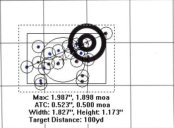 11-6-13 Bipod Prone 20 round group composite cropped