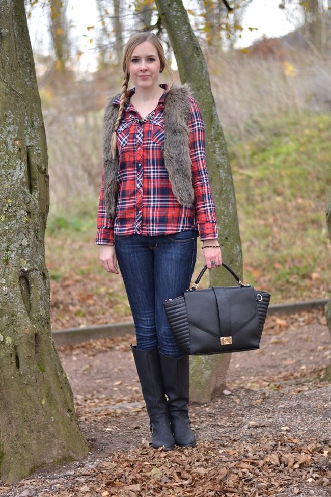 Outfit Karohemd und Fellweste (2)