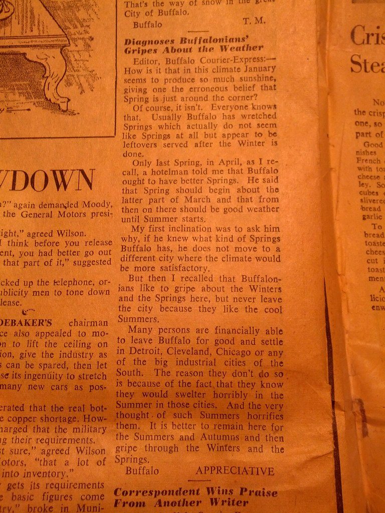 1952 Courier Express News paper
